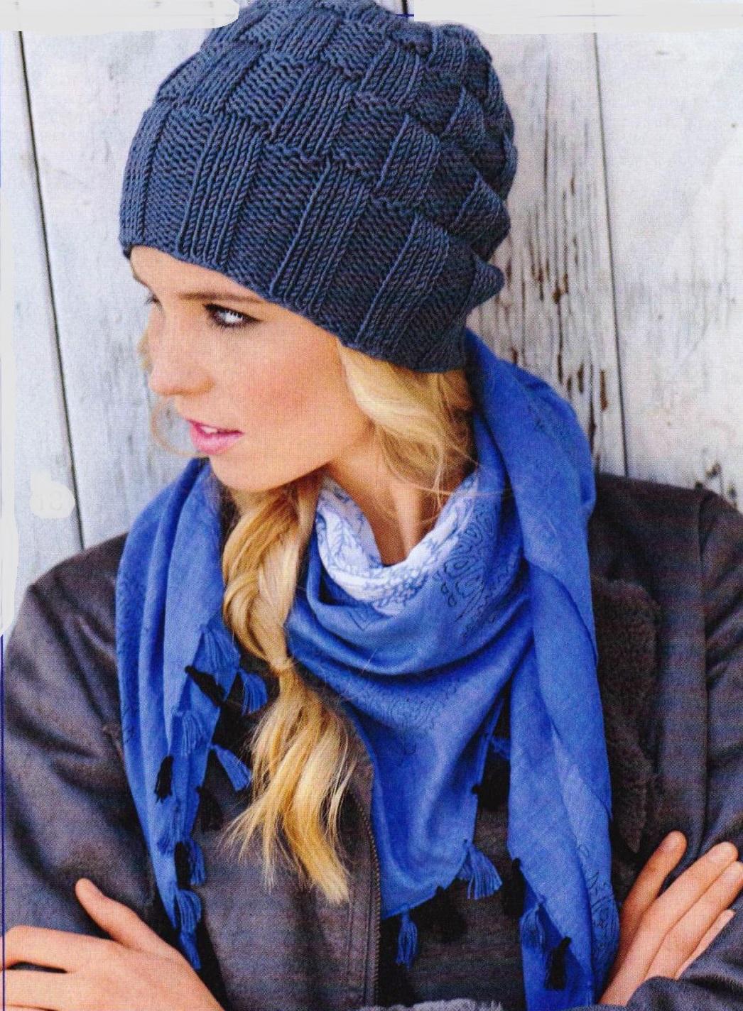 Вязание зимняя шапка с рельефным узором