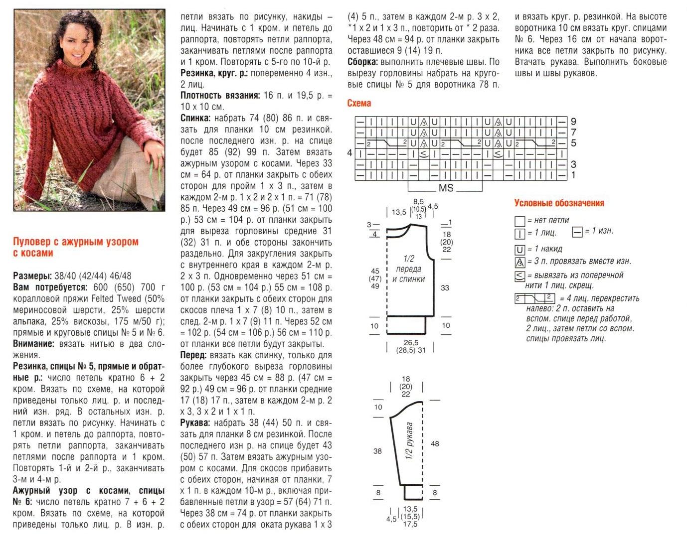 свитера с косами спицами схемы с описанием брендом Sivera
